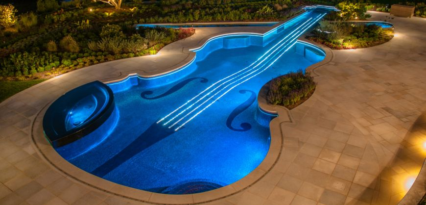 See A Violin Shaped Swimming Pool