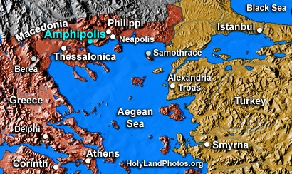 Amphipolis is built on a raised plateau overlooking the east bank of the river Strymon where it emerged from Lake Cercinitis, about 3 m from the Aegean Sea.