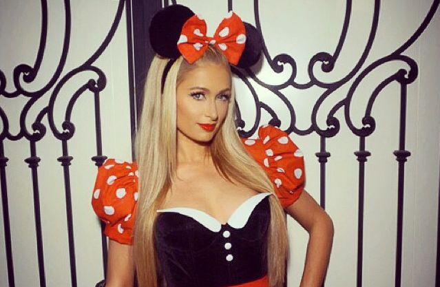 paris hilton dresses up as minnie mouse and sexy bunny for halloween