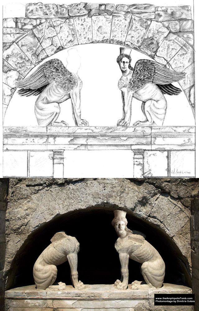 The first drawing is by lead architect at the excavation, Mr. Michalis Lefantzis. The second is a representation by Dimitris Gotsis an Amphipolis enthusiast  who sent his design to theamphipolistomb.com