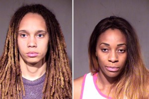 WNBA players Griner and Johnson are shown in this combo of police booking photos in Phoenix