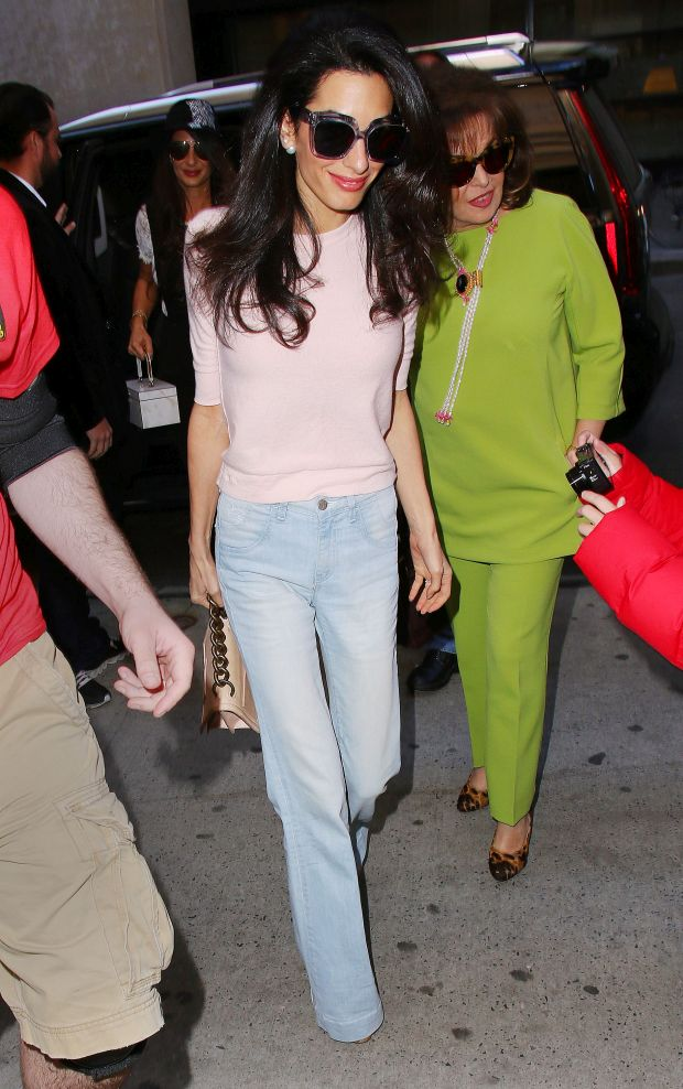 Amal Clooney takes her parents Ramzi and Baria Alamuddin and sister Tala Alamuddin to visit George Clooney on set in downtown NYC.Pictured: Amal ClooneyRef: SPL1015416  020515  Picture by: XactpiX / Splash NewsSplash Ne