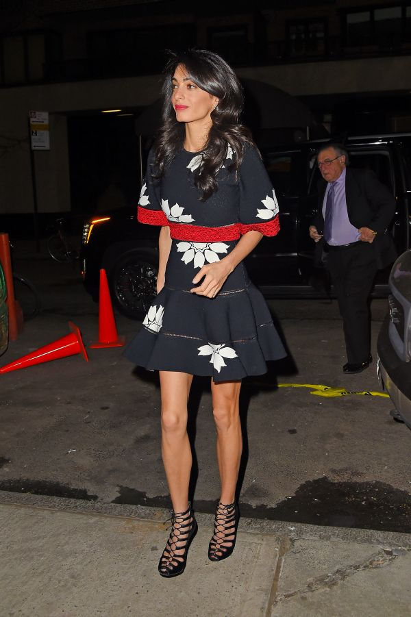 UK CLIENTS MUST CREDIT: AKM-GSI ONLYHollywood megastar George Clooney and his wife Amal joined her parents Ramzi and Baria Alamuddin for a casual dinner at Caravaggio restaurant in New York, NY.Pictured: Amal ClooneyRef: SPL1011865  280415