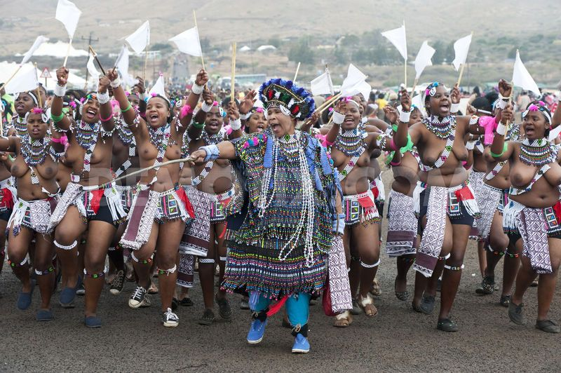 Scores of young Swaziland girls heading to reed dance