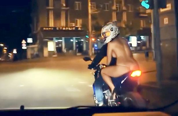 Topless nude bicycles bikes thong