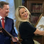 2753317 12/07/2015 Pamela Anderson, Consultative Council member, International Fund of Animal Welfare, meeting in the Kremlin with the presidential office chief Sergei Ivanov. Alexei Druzhinin/Sputnik