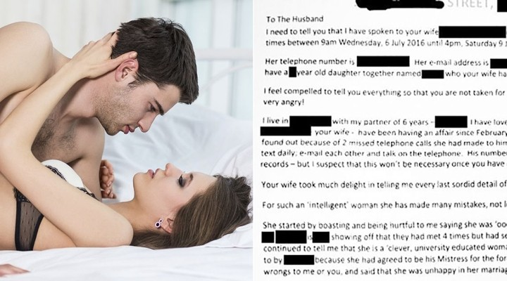 Cheated wife sends letter of her husband's affair to his mistress's