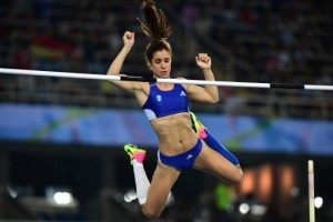 Greece's Aikaterini Stefanidi competes in the Women's Pole Vault Final during the athletics event at the Rio 2016 Olympic Games at the Olympic Stadium in Rio de Janeiro on August 19, 2016.   / AFP PHOTO / FRANCK FIFE
