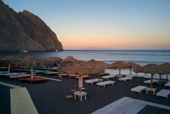 Positioned On The Southern Coast Of Santorini In Shadow Mount Vouno Perissa Beach Plays Host To Ruins Ancient Thira