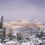 Parthenon snow