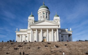 Helsinki Cathedral from the public square below on a December day.