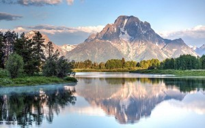 Water reflection of Mount Moran, taken from Oxbow Bend Turnout, Grand Teton National Park, Wyoming, United States of America, North America