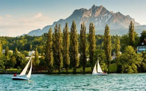 Yachts on Lake Lucerne & Mt Pilatus
