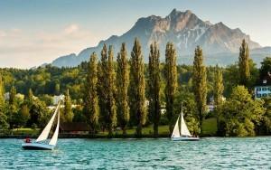 Yachts on Lake Lucerne & Mt Pilatus