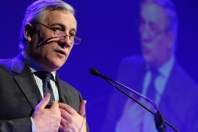 Vice-President of the European Commission Antonio Tajani  delivers a speech at a political congress organized by the Wallonia region on economic issues, on February 18, 2014 in La Louviere. AFP PHOTO/BELGA/VIRGINIE LEFOUR   -Belgium Out-        (Photo credit should read VIRGINIE LEFOUR/AFP/Getty Images)