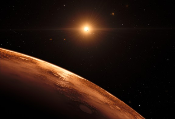This artist's impression shows the view just above the surface of one of the planets in the TRAPPIST-1 system. At least seven planets orbit this ultracool dwarf star 40 light-years from Earth and they are all roughly the same size as the Earth. They are at the right distances from their star for liquid water to exist on the surfaces of several of them. This artist's impression is based on the known physical parameters for the planets and stars seen, and uses a vast database of objects in the Universe.
