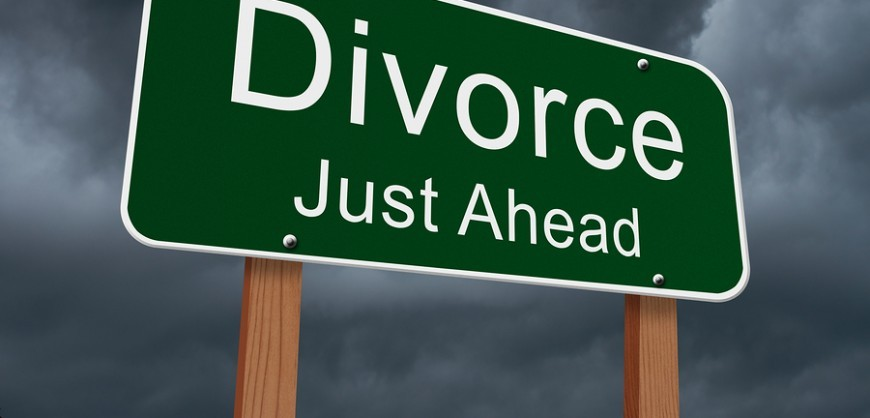 Divorce Just Ahead Sign Green highway sign with words Divorce Just Ahead with stormy sky background
