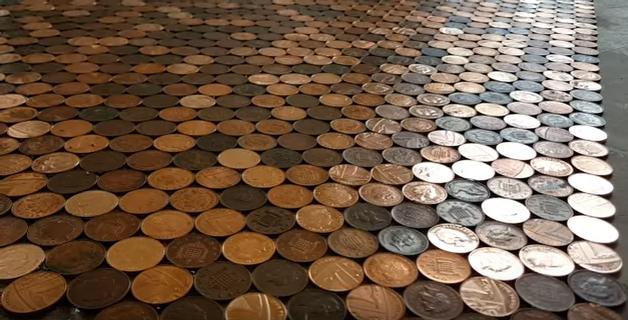 Woman Creates Amazing Coin Floor Photos Video