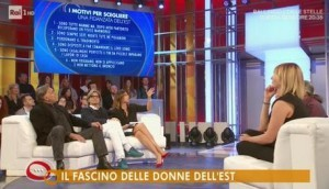 Un fermo immagine tratto dalla rubrica Parliamone sabato, condotto da Paola Perego su Rai1 che si è occupata dei 'Motivi per scegliere una fidanzata dell'est', con tanto di lista.  ANSA/RAIUNO ANSA PROVIDES ACCESS TO THIS HANDOUT PHOTO TO BE USED SOLELY TO ILLUSTRATE NEWS REPORTING OR COMMENTARY ON THE FACTS OR EVENTS DEPICTED IN THIS IMAGE; NO ARCHIVING; NO LICENSING