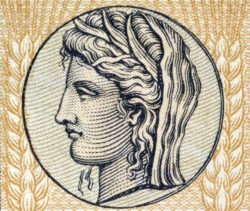 Demeter the Goddess of Grain and Fertilityon on 10 Drachmai 1940 banknote form Greece