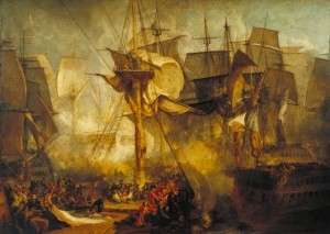 The Battle of Trafalgar, as Seen from the Mizen Starboard Shrouds of the Victory 1806-8 Joseph Mallord William Turner 1775-1851 Accepted by the nation as part of the Turner Bequest 1856 http://www.tate.org.uk/art/work/N00480