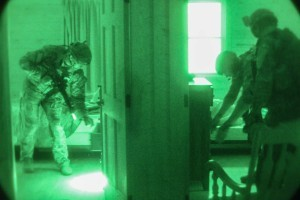 U.S. Army Special Operations Forces Soldiers assigned to 10th Special Forces Group (Airborne), search through a cabin room as they conduct sensitive sight exploitation training during Exercise Ridge Runner Feb. 18, 2017 in West Virginia. Ridge Runner is an exercise hosted by the West Virginia National Guard involving U.S. and NATO special operations forces focused on unconventional warfare. (U.S. Army photo by Sgt. Connor Mendez)