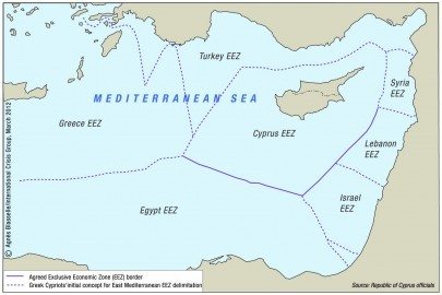 MAP 3 CYPRUS MARITIME BORDER VECT