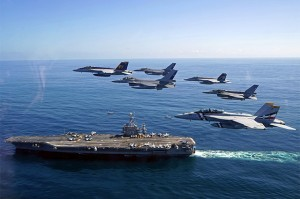 PACIFIC OCEAN (Oct. 19, 2015) U.S. Naval aircraft and aircraft from the Chilean Air Force participate in a fly-by adjacent to aircraft carrier USS George Washington (CVN 73). UNITAS 2015, the U.S. Navy's longest running annual multinational maritime exercise, is part of the Southern Seas deployment planned by U.S. Naval Forces Southern Command/U.S. 4th Fleet. This 56th iteration of UNITAS is conducted in two phases: UNITAS Pacific, hosted by Chile, Oct. 13-24, 2015 and UNITAS Atlantic, hosted by Brazil scheduled for November. (U.S. Navy photo by Lt. j.g. David Babka/Released) 151020-N-ZZ999-001 Join the conversation: http://www.navy.mil/viewGallery.asp http://www.facebook.com/USNavy http://www.twitter.com/USNavy http://navylive.dodlive.mil http://pinterest.com https://plus.google.com