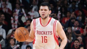 HOUSTON, TX - NOVEMBER 19:  Kostas Papanikolaou #16 of the Houston Rockets brings the ball up court against the Los Angeles Lakers on November 19, 2014 at the Toyota Center in Houston, Texas. NOTE TO USER: User expressly acknowledges and agrees that, by downloading and or using this photograph, User is consenting to the terms and conditions of the Getty Images License Agreement. Mandatory Copyright Notice: Copyright 2014 NBAE (Photo by Bill Baptist/NBAE via Getty Images)