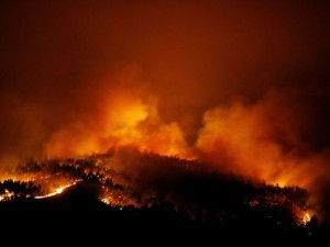 A forest fire is seen near Tojeira,  Pedrogao Grande, in central Portugal, June 18, 2017.  REUTERS/Rafael Marchante - RTS17ID2