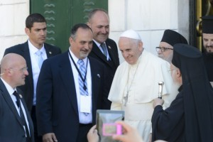 Advocate staff photo by BILL FEIG -- Pope and Ecumenical Patriarch meet at the Mount of Olives.