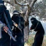 Members of the al-Khansaa' Brigade, ISIS' all-female unit operating in Raqqa, Syria