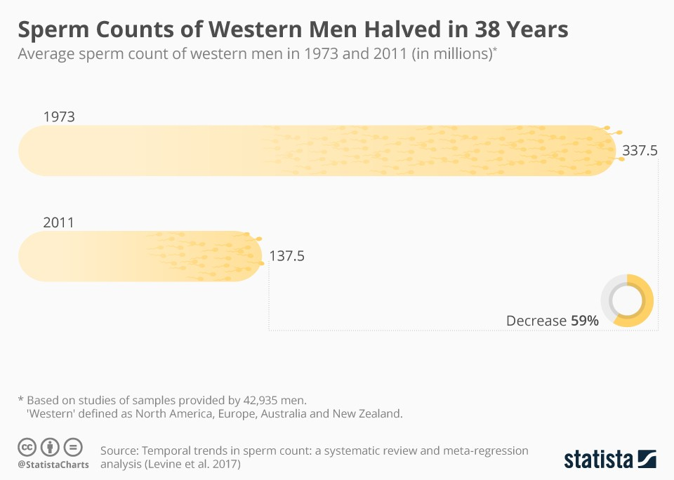 Male sperm count since 1940