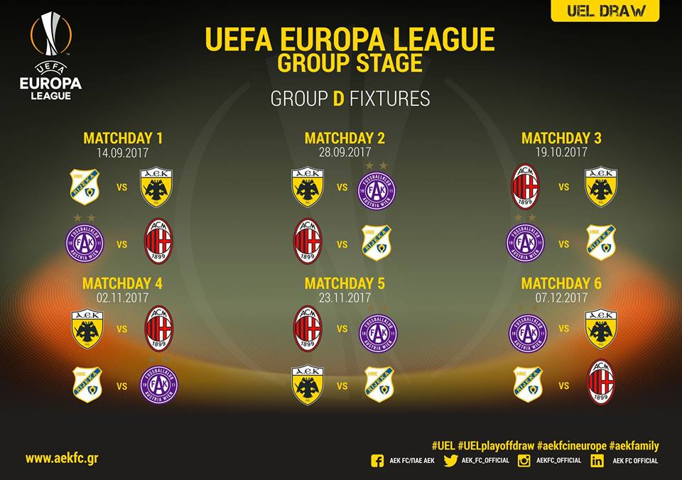 Aek To Play Against Milan In Group D Protothemanews Com