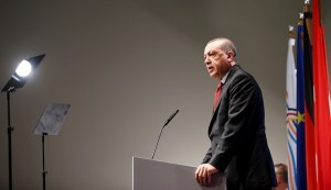Turkish President Recep Tayyip Erdogan speaks during a news conference to present the outcome of the G20 leaders summit in Hamburg, Germany July 8, 2017. REUTERS/Axel Schmidt - RTX3AN8P