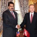 Venezuela's President Nicolas Maduro (L) shakes hands with Turkish President Tayyip Erdogan during a meeting in Istanbul, Turkey October 10, 2016. Miraflores Palace/Handout via REUTERS ATTENTION EDITORS - THIS PICTURE WAS PROVIDED BY A THIRD PARTY. EDITORIAL USE ONLY. - RTSRMVB