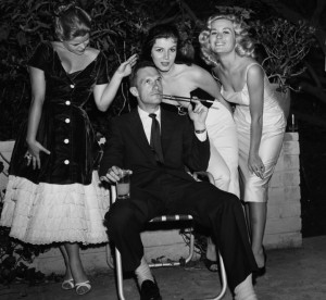 LOS ANGELES - JUNE 26,1957: Hugh Hefner with Sylvia Sydney, Joan Bradshaw and Caroline Mitchell at a Play Boy Party in Los Angeles, California. (Photo by Earl Leaf/Michael Ochs Archives/Getty Images)