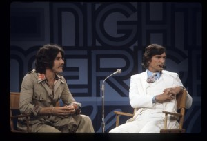 "GOOD NIGHT AMERICA (PART OF ABC'S WIDE WORLD OF ENTERTAINMENT) - ""Tribute to Marlon Brandon"" - Shoot Date: June 6, 1974. (Photo by ABC Photo Archives/ABC via Getty Images) L-R: GERALDO RIVERA;HUGH HEFNER"