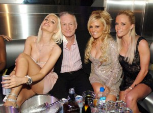 Holly Madison, Hugh Hefner, Bridget Marquardt and Kendra Wilkinson (Photo by Denise Truscello/WireImage)