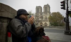 Homeless man, Notre Dame