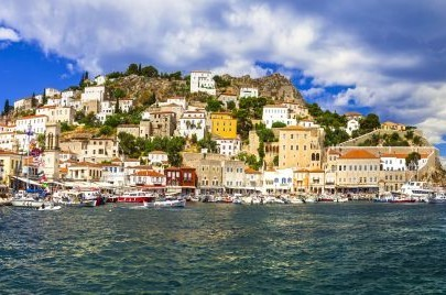 Pictorial port of Hydra Island,Saronics,Greece.