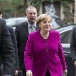 epa06422762 German Chancellor and Leader of the Christian Democratic Union (CDU) Angela Merkel arrives for exploratory talks held at the Social Democrats (SPD) party headquarters Willy-Brandt-Haus in Berlin, Germany, 07 January 2018. The leaders of CDU, CSU and SPD parties hold exploratory talks at the parties' headquarters through 11 January.  EPA-EFE/OMER MESSINGER
