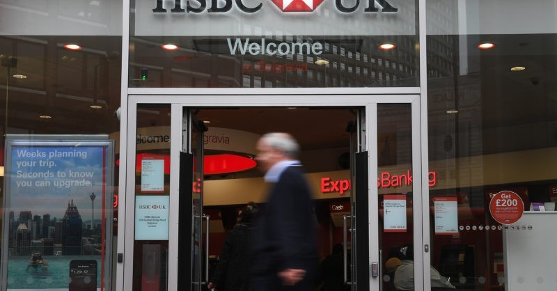 epa05806614 An exterior view of a HSBC (Hongkong and Shanghai Banking Corporation Holdings PLC) branch in London, Britain, 21 February 2017.  According to news reports HSBC is under investigation over potential breaches of money laundering rules. The banking giant meanwhile reported a 62 per cent fall in profits on 21 February 2017.  EPA/ANDY RAIN