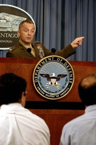 030910-D-2987S-054 Colonel Matthew Bogdano, USMC, responds to a reporter's question during a Pentagon press briefing Sept. 10, 2003.  Bogdano, the leader of the team investigating the looting of Iraqi antiquities during Operation Iraqi Freedom, discusses his findings.  DoD photo by Helene C. Stikkel  (for review)