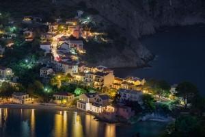 Assos Village at twilight, Kefalonia island, Greece