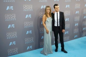 epa05107918 US actress Jennifer Aniston and her husband US actor Justin Theroux arrive for the 21st Annual Critics' Choice Awards at Barker Hangar in Santa Monica, California, USA, 17 January 2016.  EPA/NINA PROMMER