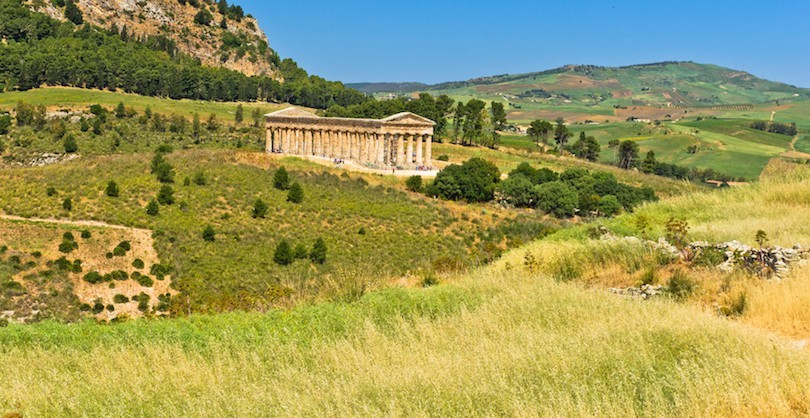 Landscape of Sicily with old greek temple at Segesta