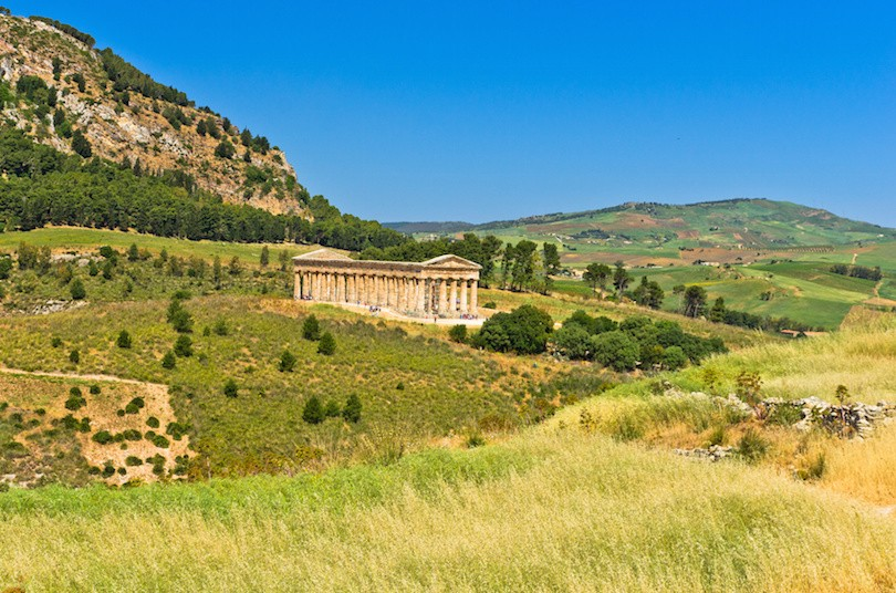 Landscape of Sicily with old greek temple at Segesta