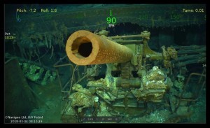 """This handout photograph obtained March 5, 2018 courtesy of Paul G. Allen shows wreckage from the USS Lexington, a US aircraft carrier which sank during World War II, that has been found in the Coral Sea, a search team led by Microsoft co-founder Paul G. Allen announced March 5, 2018.   The wreckage was found March 4, 2018 by the team's research vessel, the R/V Petrel, some 3,000 meters (two miles) below the surface more than 500 miles (800 kilometers) off the eastern coast of Australia. Remarkably preserved aircraft could be seen on the seabed bearing the five-pointed star insignia of the US Army Air Forces on their wings and fuselage.  / AFP PHOTO / PAUL G. ALLEN / STR / == RESTRICTED TO EDITORIAL USE  / MANDATORY CREDIT:  """"AFP PHOTO /  HO / COURTESY OF PAUL G. ALLEN"""" / NO MARKETING / NO ADVERTISING CAMPAIGNS /  DISTRIBUTED AS A SERVICE TO CLIENTS  =="""