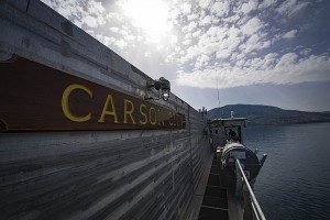 180302-N-JI086-118  SOUDA BAY, Greece (March 2, 2018) The Spearhead-class expeditionary fast transport ship USNS Carson City (T-EPF 7) departs Naval Support Activity Souda Bay. Carson City is conducting naval operations in the U.S. 6th Fleet area of operations to advance security and stability in the region. (U.S. Navy photo by Mass Communication Specialist 3rd Class Ford Williams/Released)
